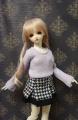 SD藤色ニットと千鳥格子のボックススカート