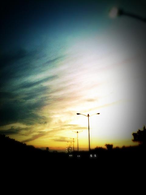 夕焼けの直線