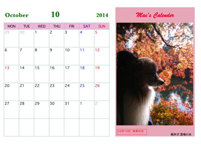 マックカレンダー2014 00010