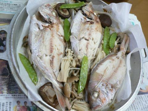 れんこ鯛の無水鍋蒸し焼き