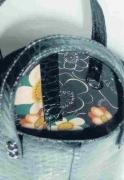 クロコ黒革バケツ型上部分