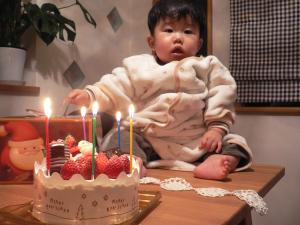 息子くんとケーキ