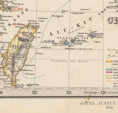 尖閣1004 1869年刊 ハンド・アトラスより 中央上寄りに尖閣諸島 東京大学総合図書館蔵(5298948)