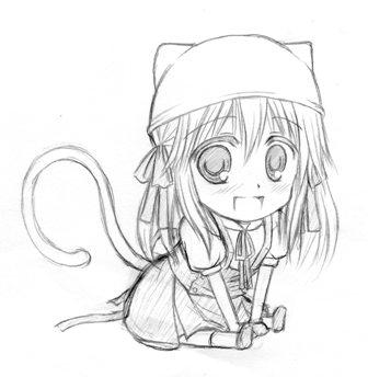 ちびキャラ猫耳帽子
