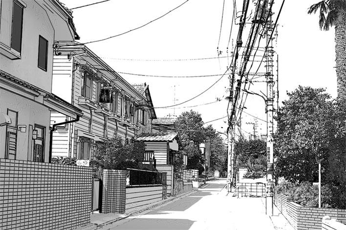 漫画背景 住宅街001