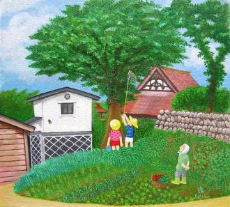 少年時代・蝉採り(アクリル画)