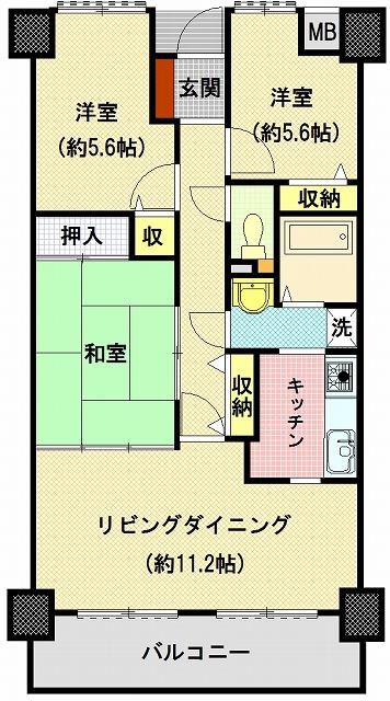サーパス木太Ⅱ503間取り図