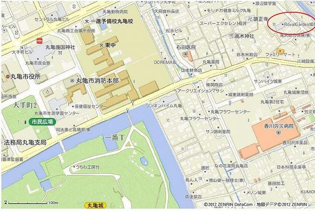 s-香川県丸亀市城東町2丁目13_37の地図印刷(A4ヨコ×スクロール地図) _ いつもNAVI