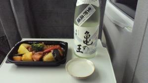 久須美酒造さんの亀の王と野菜煮物