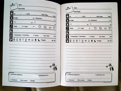 diving log book
