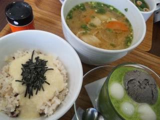 nanas green tea とん汁雑穀ご飯セットとろろご飯¥850
