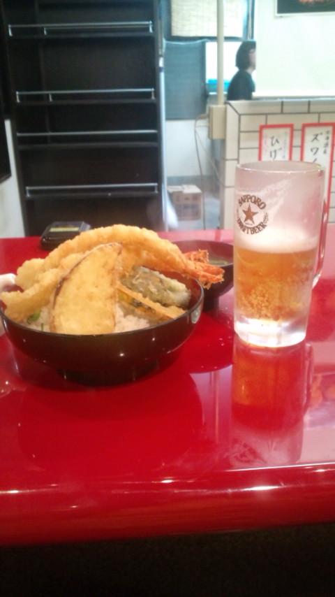天ぷらとビール