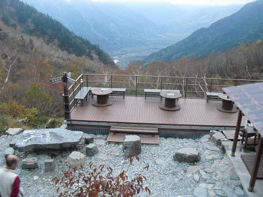 22 岳沢小屋のテラスから上高地