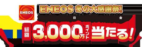 ENEOS冬の大感謝祭! Tポイント総額3,000万ポイント当たる!