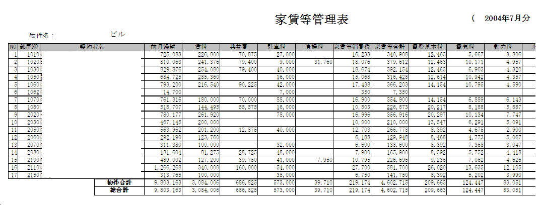 家賃管理パターン3(家賃管理表)