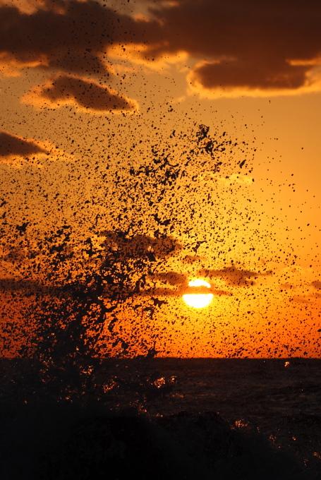 夕陽に波しぶき