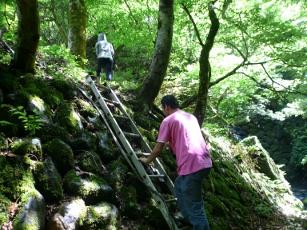 西高倉堰堤へのはしご