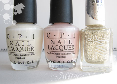 OPI#H29 Time-less Is More(タイムレス イズ モア)/OPI#H35 Isn't it romantic?(イズント・イット・ロマンチック?)/TiNS#088 Miss Photogenic(ミス・フォトジェニック)