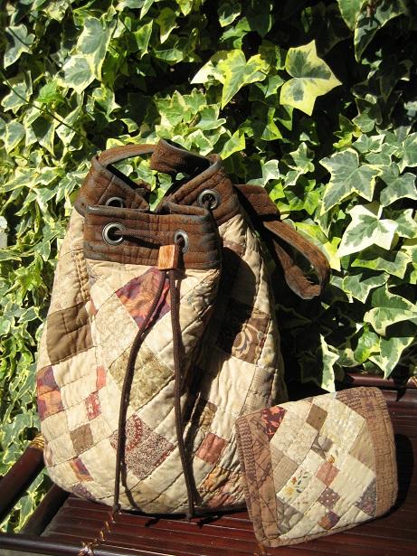 四角繋ぎの巾着ショルダー&財布