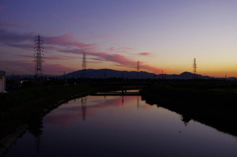 大和川 夕日