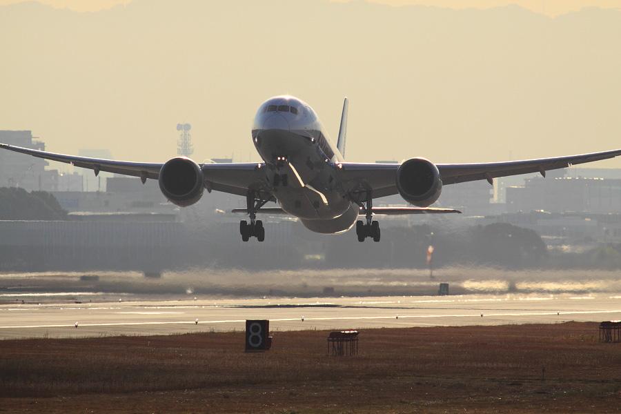 ANA B787-8 Dreamliner / ANA541 (JA807A)@RWY14Rエンド・猪名川土手