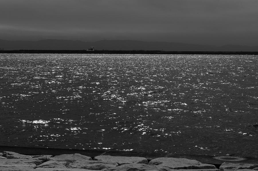陽の当る海・大阪湾の眺め@六甲アイランド・マリンパーク