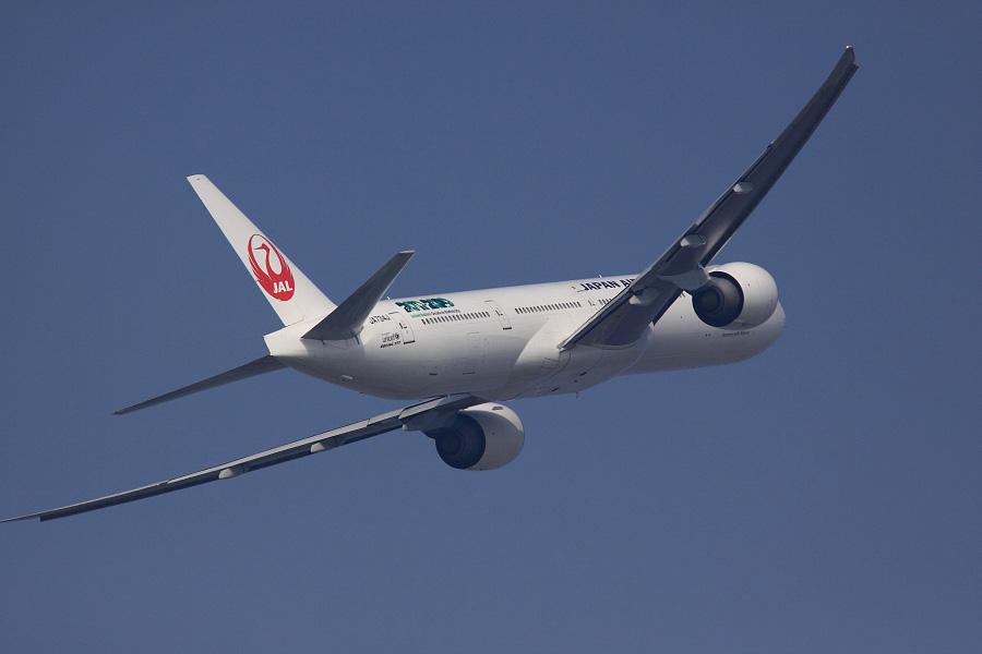 JAL B777-346ER / JAL3002 (JA734J)@下河原緑地展望デッキ