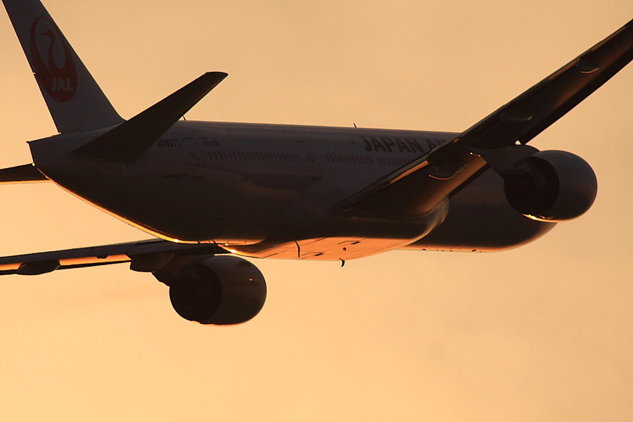 JAL B777-289 JAL128@下河原緑地展望デッキ(by EOS 50D with SIGMA APO 300mm F2.8 EX DG/HSM + APO TC2x EX DG)