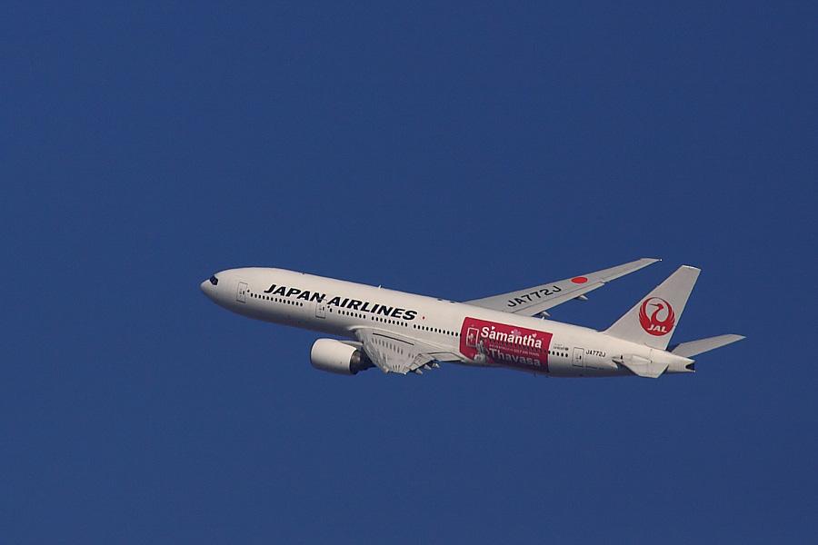 JAL B777-246 JAL104@RWY14Rエンド猪名川土手(by EOS 50D with SIGMA APO 300mm F2.8 EX DG/HSM + APO TC2x EX DG)