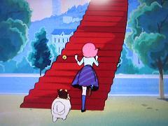 階段へと進むモモ