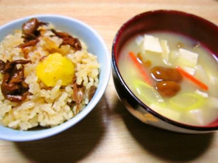 舞茸と栗のご飯&原木なめこ汁