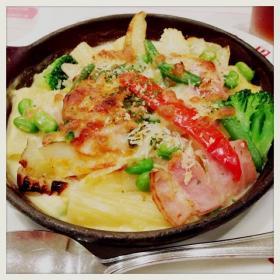 ベーコンと野菜のクリームグラタン