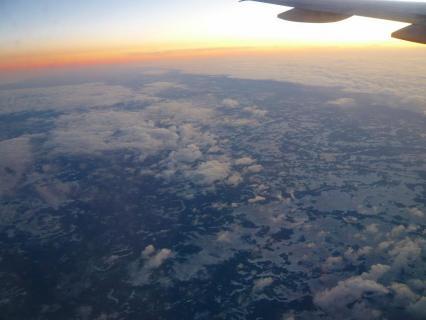 機上にて雪景色