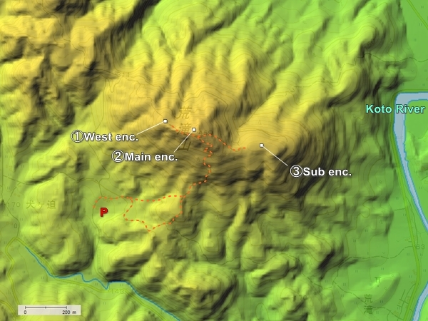Aratakiyama Castle topography