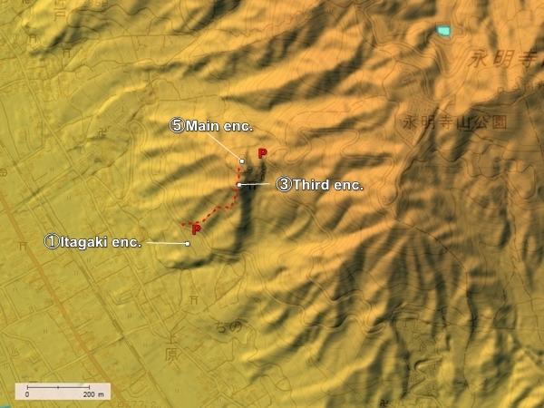 Uehara Castle topography