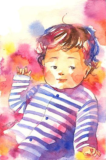 赤ちゃん 水彩