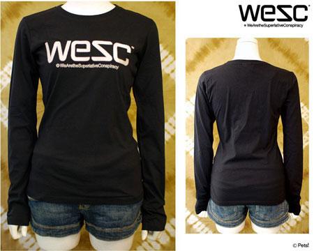 WeSC(ウィーエスシー)◆ ロゴ刺繍入り 長袖Tシャツ トップス カットソー クルーネック 【レディース】