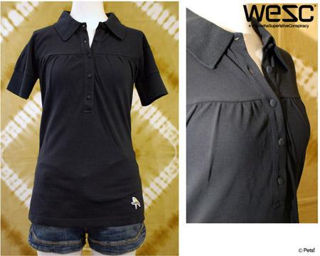 WeSC(ウィーエスシー)◆ ポロシャツ トップス カットソー 無地 ボーダー 半袖 【レディース】