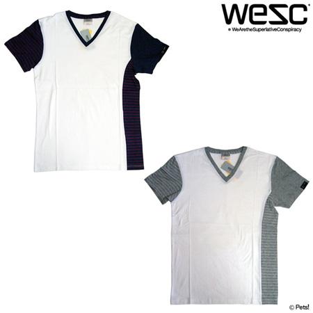 部分ボーダーTシャツ カットソー トップス Vネック 半袖 【メンズ WeSC(ウィーエスシー)】☆メール便可
