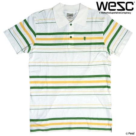 【わけあり】ポロシャツ トップス 半袖 ボーダー カットソー 【メンズ WeSC(ウィーエスシー)◆M】☆メール便可