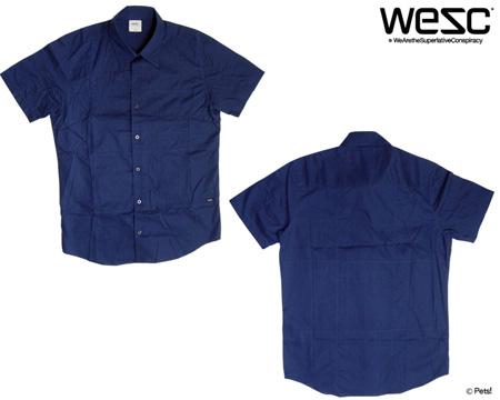 縫い合わせシャツ 半袖 無地 カジュアルシャツ シャツ 【メンズ WeSC(ウィーエスシー)】