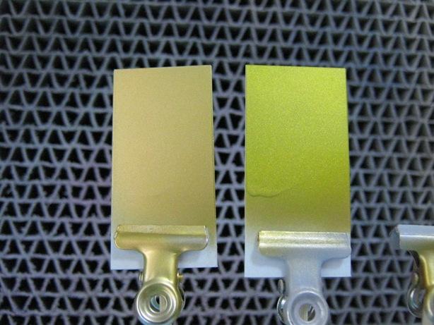 実験 塗装 金と蛍光
