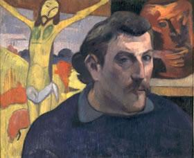gauguinゴーギャン 黄色のキリスト像といる自画像