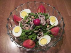 春菊と豚しゃぶと豆とひじきとラディッシュのサラダ