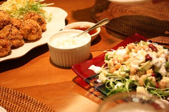 海老カツとアボカドビーンズ豆腐サラダ