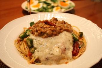 スパイシー納豆スパゲティ