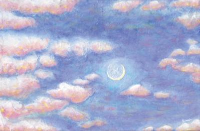 「夕空に浮かぶ三日月」