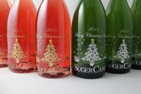 クリスマスエッチングボトル、ツリーとサンタ