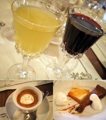 食後酒、デザート、エスプレッソ