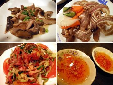 豚耳、豚胃の煮込み&牛肉サラダ